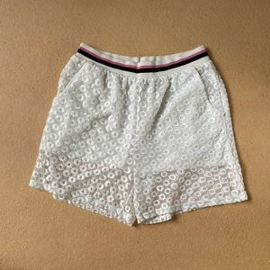 H&M White Lace Relaxed Fit Shorts